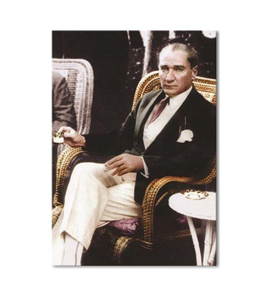 Atatürk Kahve Keyfinde Kanvas Tablo 50x70cm
