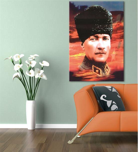 Atatürk Kalpaklı Kanvas Tablo 35x50cm