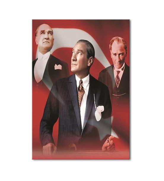 Atatürk Türk Bayraklı Kolaj Kanvas Tablo 50x70cm