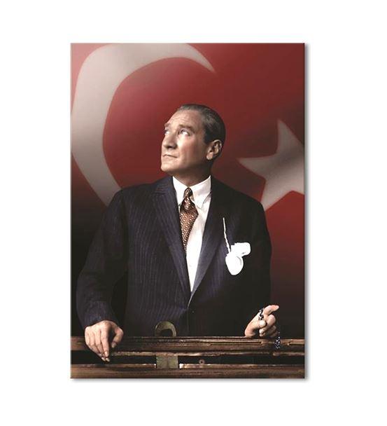 Atatürk Türkiye Bayraklı Kanvas Tablo 35x50cm