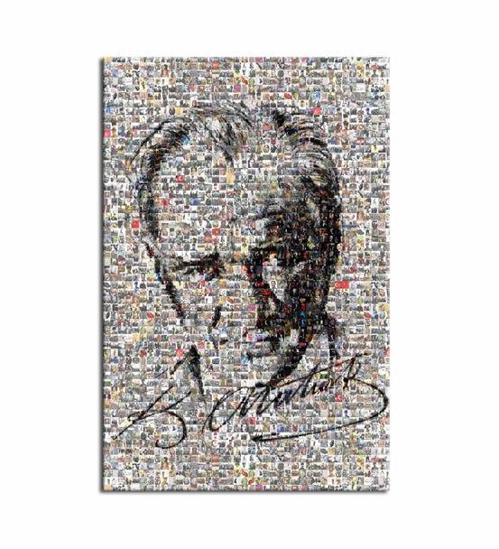 Atatürk ve İmzası Mozaik Kanvas Tablo 50X70cm