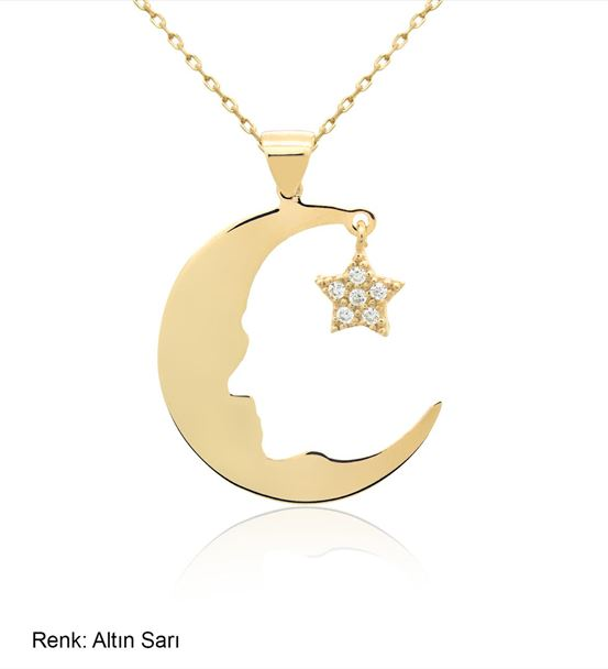 Ay Yıldız Atatürk Silüet Altın Kaplama Gümüş Kolye