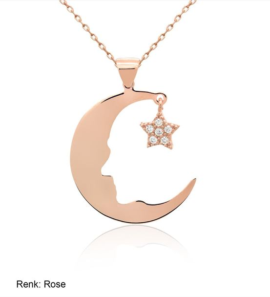 Ay Yıldız Atatürk Silüet Rose Gümüş Kolye