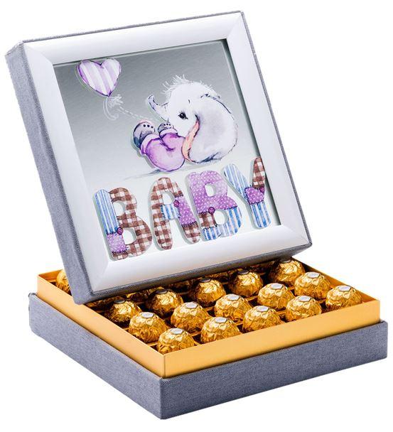 Aynalı Hoş Geldin Kız Bebek  Çikolata Kutusu