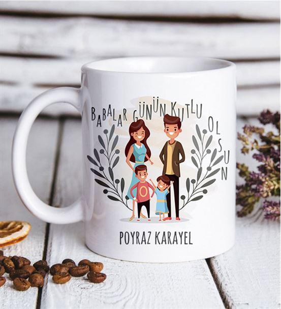 Babalar Günü Aile Tasarım Kupa Bardak