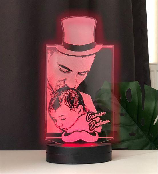 Babalar Gününe Özel Resimli 3d Led Gece Lambası