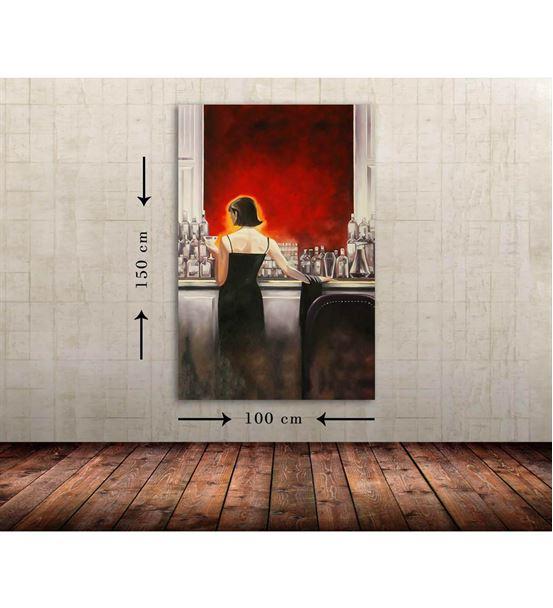 Bar Kadın Büyük Boy  Kanvas Tablo 100x150 cm