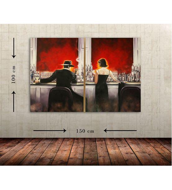 Bar Kadın Erkek Büyük Boy  Kanvas Tablo 100x150 cm