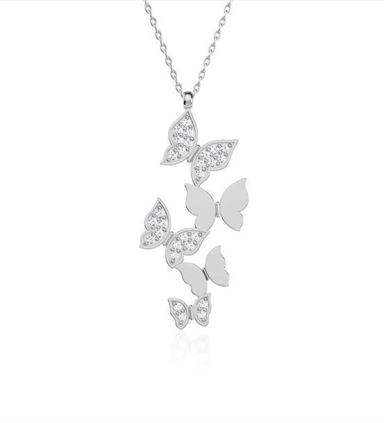 Beyaz Beşli Kelebek Gümüş Kolye