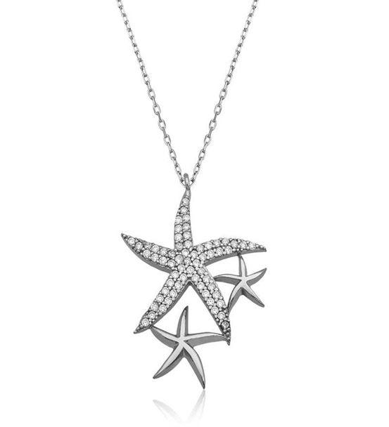 Beyaz Deniz Yıldızları Bayan Kolye