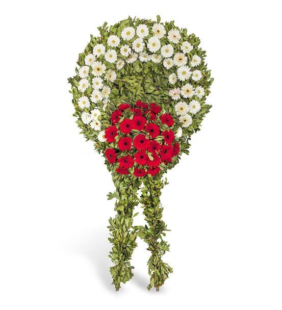 Beyaz Kırmızı Gerberalarla Cenaze Çelengi