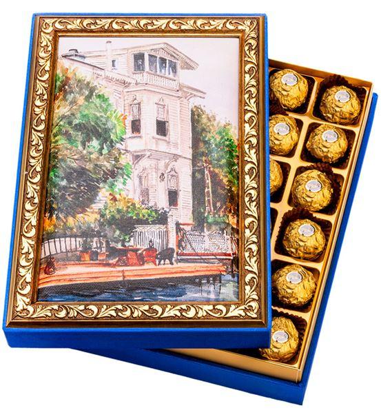 Beyaz Köşk Çerçeveli Çikolata Kutusu
