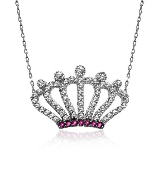 Beyaz Taşlı Kraliçe Tacı Gümüş Kolye