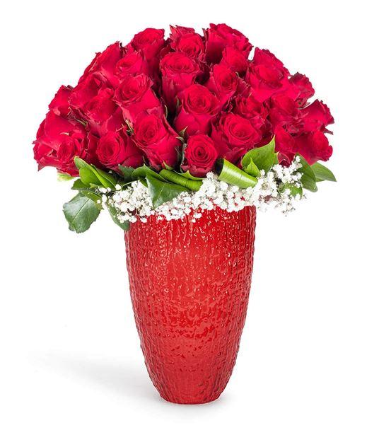 Büyük Aşk 50 Kırmızı Gül Aranjmanı