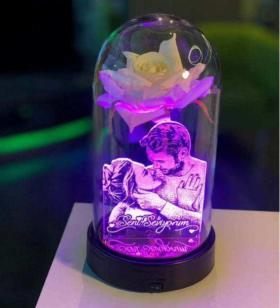 Cam Fanus Beyaz Gül Resimli 3d Gece Lambası
