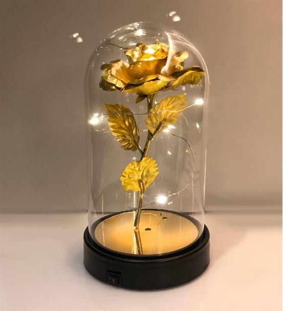 Cam Fanus Lamba Gold Sarı Gül Siyah Altlık