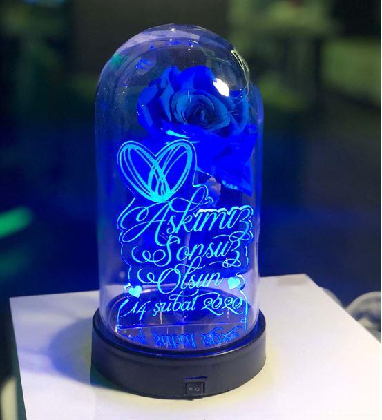 Cam Fanus Sevgililer Günü Mesaj2 Lamba Mavi Gül