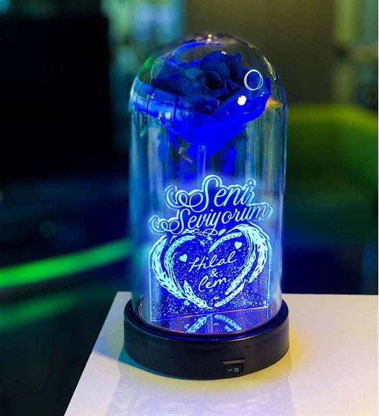 Cam Fanus Sevgililer Günü Mesaj Lamba Mavi Gül