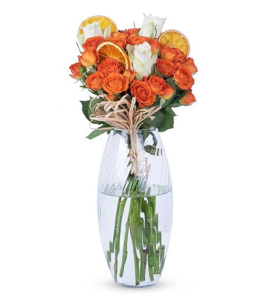 Carignan Serisi Renk Güzeli Turuncu Beyaz Güller