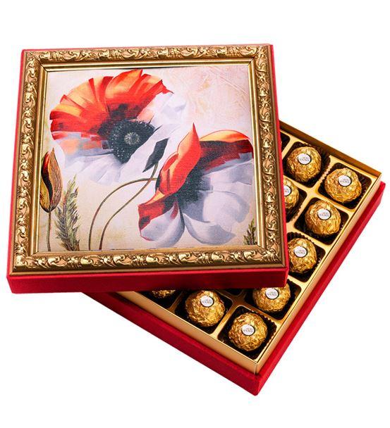Çiçek Çerçeveli Çikolata Kutusu