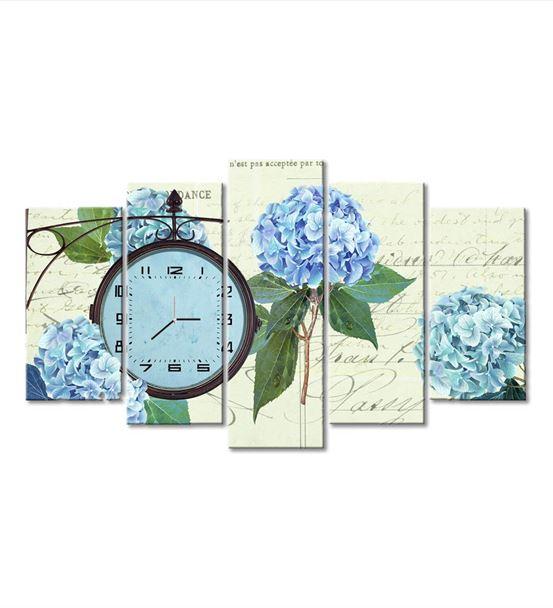 Çiçek Temalı 5 Parça Saat'li Kanvas Tablo