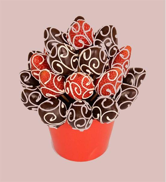 Çikolatalı Lezzetli Çilek Buketi