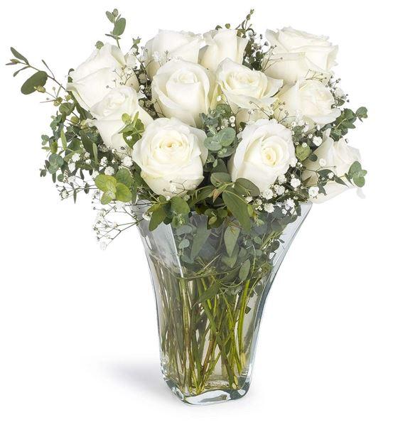 Dekoratif Vazoda 11 Beyaz Güller