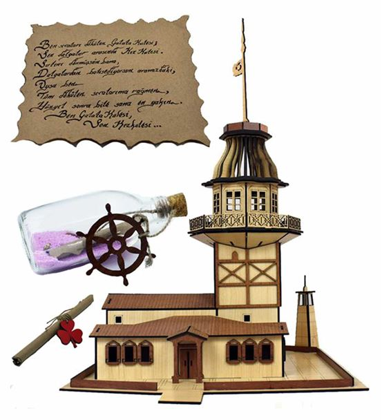 Denizden Gelen Kız Kulesi 3D Puzzle Mesajlı (%100