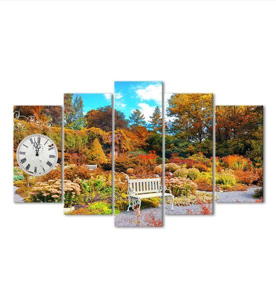 Doğal Bahçeler 5 Parça Saat'li Kanvas Tablo
