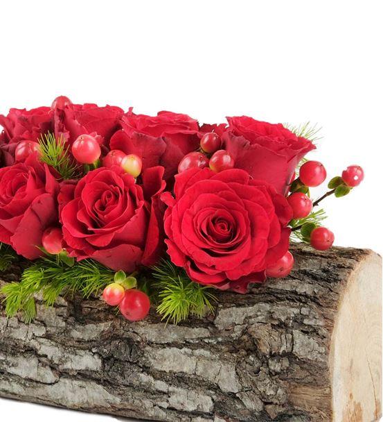 Doğal Kütükte 9 Adet Kırmızı Güller