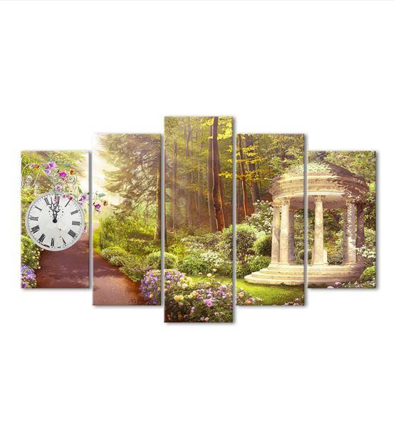 Doğal Yaz Bahçesi 5 Parça Saat'li Kanvas Tablo