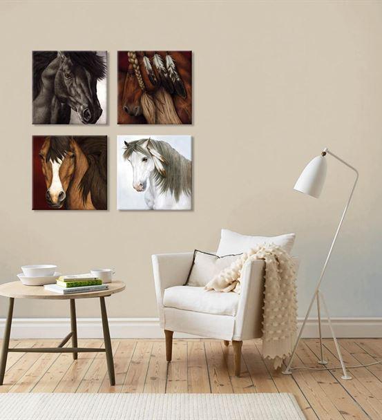 Dört Farklı At Temalı 4'lü Kombin Mdf Tablo