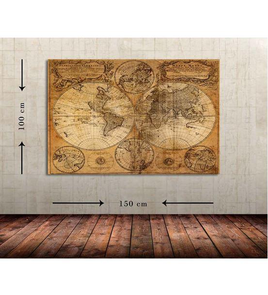 Dünya Haritası Büyük Boy  Kanvas Tablo 100x150 cm