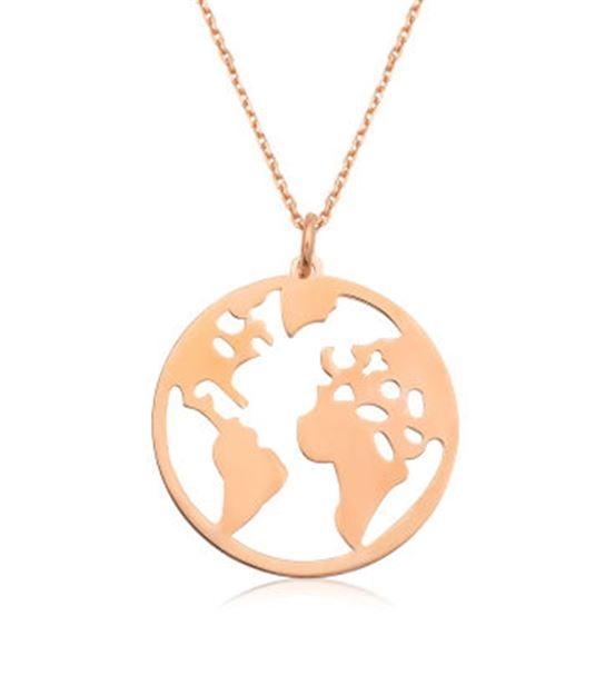 Dünya Tasarım 925 Ayar Rose Gümüş Kolye