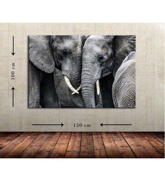 Fil İkili Büyük Boy  Kanvas Tablo 100x150 cm