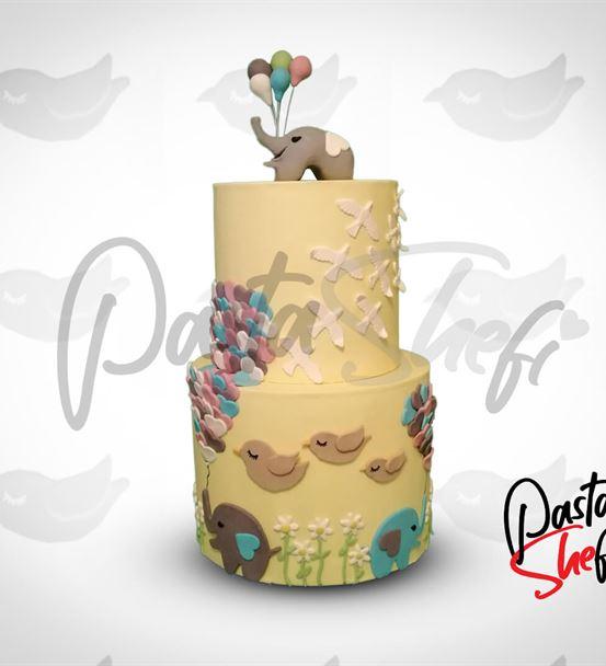 Fil ve Balonlar Doğum Günü Pastası