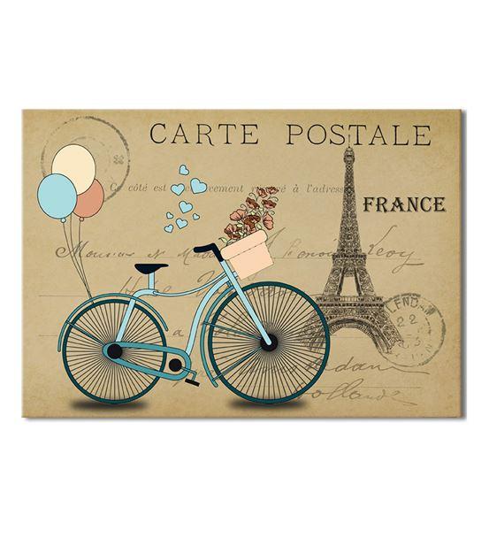 France Mavi Bisiklet 20x30 cm Kanvas Tablo