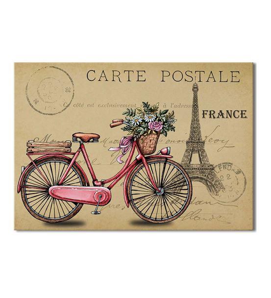 France Pembe Bisiklet Kanvas Tablo 35x50cm