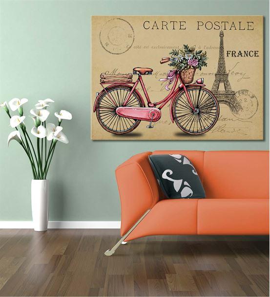France Pembe Bisiklet Kanvas Tablo 60x90cm