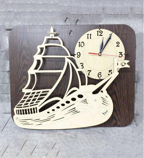 Gemici Ve Kaptanlar İçin Ahşap Yelkenli Duvar Saat