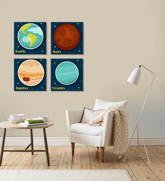 Gezegenler Temalı 4'lü Kombin Mdf Tablo
