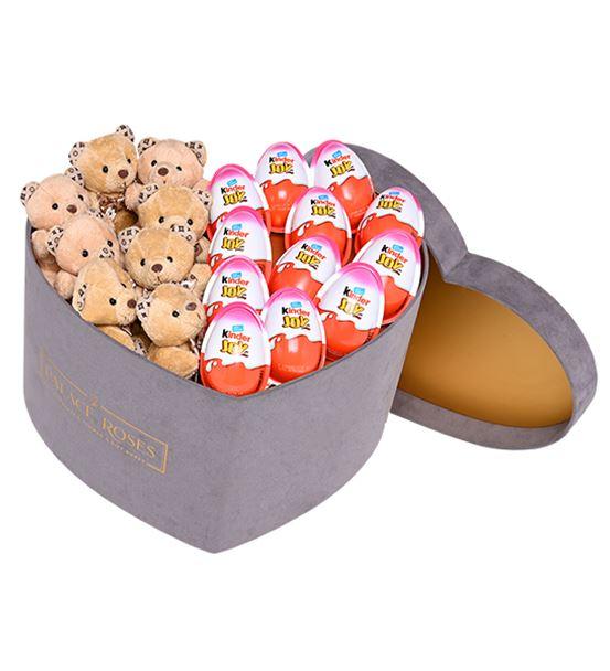 Gri Kadife Kalp Kutuda Kinder Surprise - Ayıcıklar