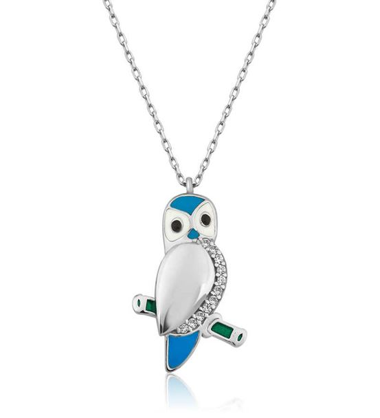 Gümüş 925 Ayar Mavi Baykuş Bayan Kolye