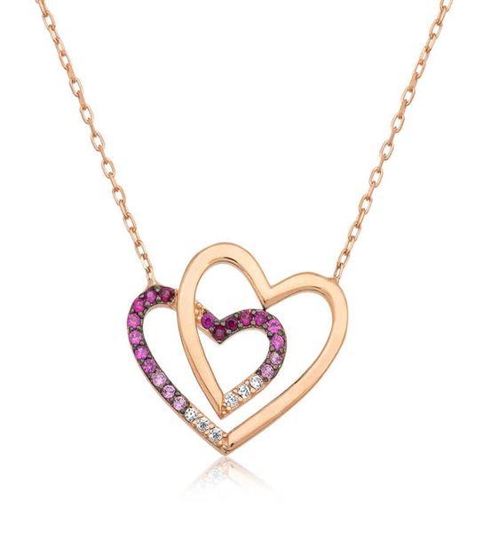 Gümüş İki Kalp Tasarımlı Bayan Kolye