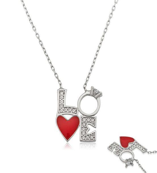Gümüş Kalpli Tek Taş Love Yazılı Kolye