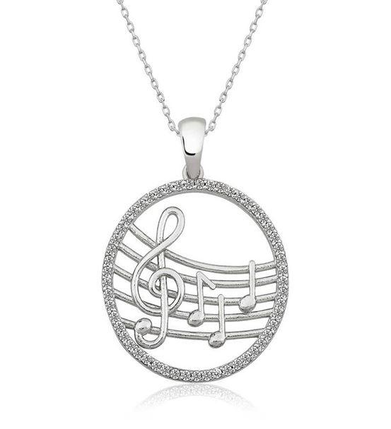 Gümüş Müzik Notalı 925 Ayar Bayan Kolye