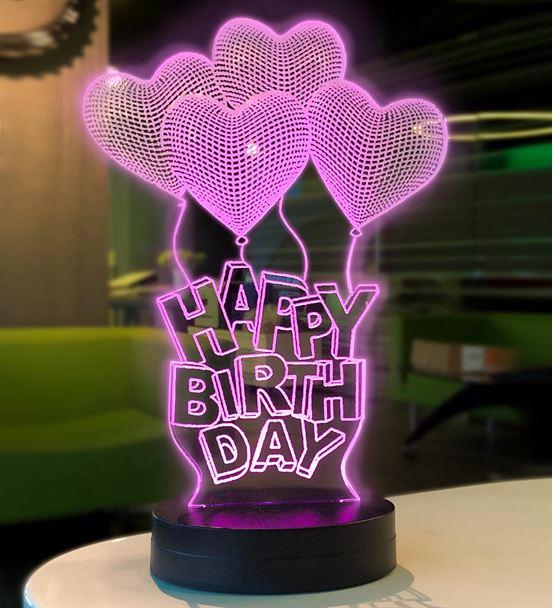 Happy Birthday Modelli 3D Gece Lambası