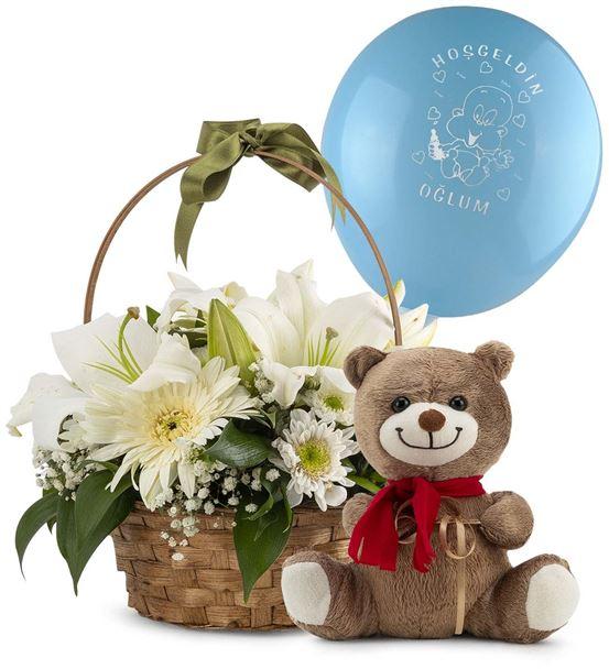 Hoşgeldin Erkek Bebek Ayıcıklı Çiçek Sepeti