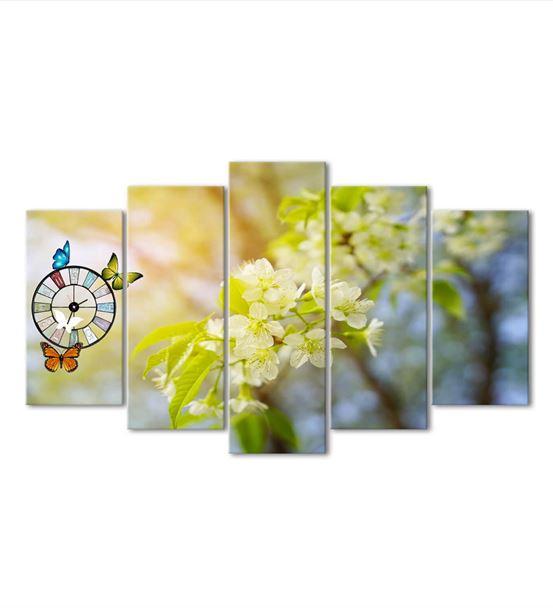 İlkbahar Çiçekleri 5 Parça Saat'li Kanvas Tablo
