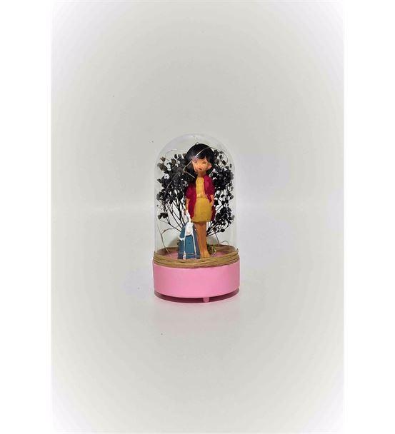 Işıklı Fanus Çantalı İş Kadını Teraryum-Ebamtf0002
